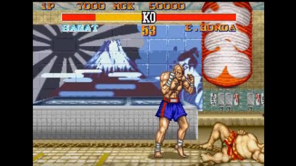 """An MMA fighter dressed like Sagat from the """"Street"""
