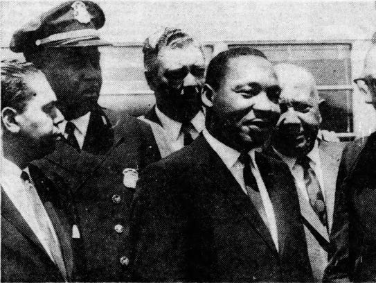 At the airport, the Rev. Dr. Martin Luther King, third