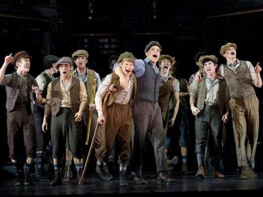 "The cast of ""Newsies"" at the Paper Mill Playhouse, which opened on Broadway in 2012."