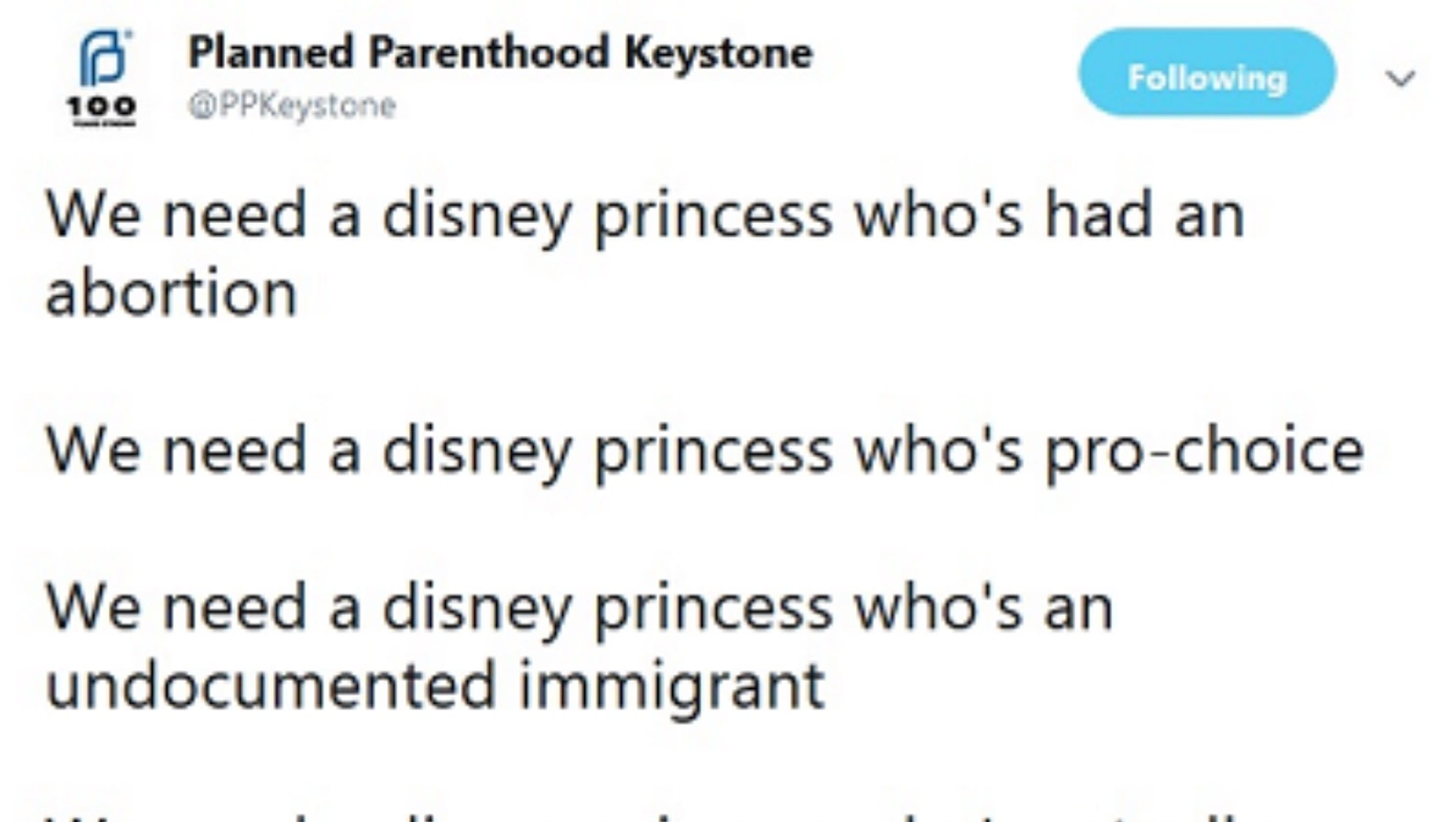 PLANNED PARENTHOOD called for DISNEY princess whos had an abortion