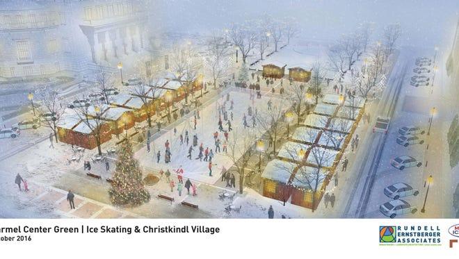Rendering of Carmel's ChristkindlMarkt and ice rink.