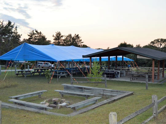 Pictured in 2017 - the pavilion at Horseriders Campground is accompanied by a tent in preparation for SKMHTA's Annual Fall Fundraiser.