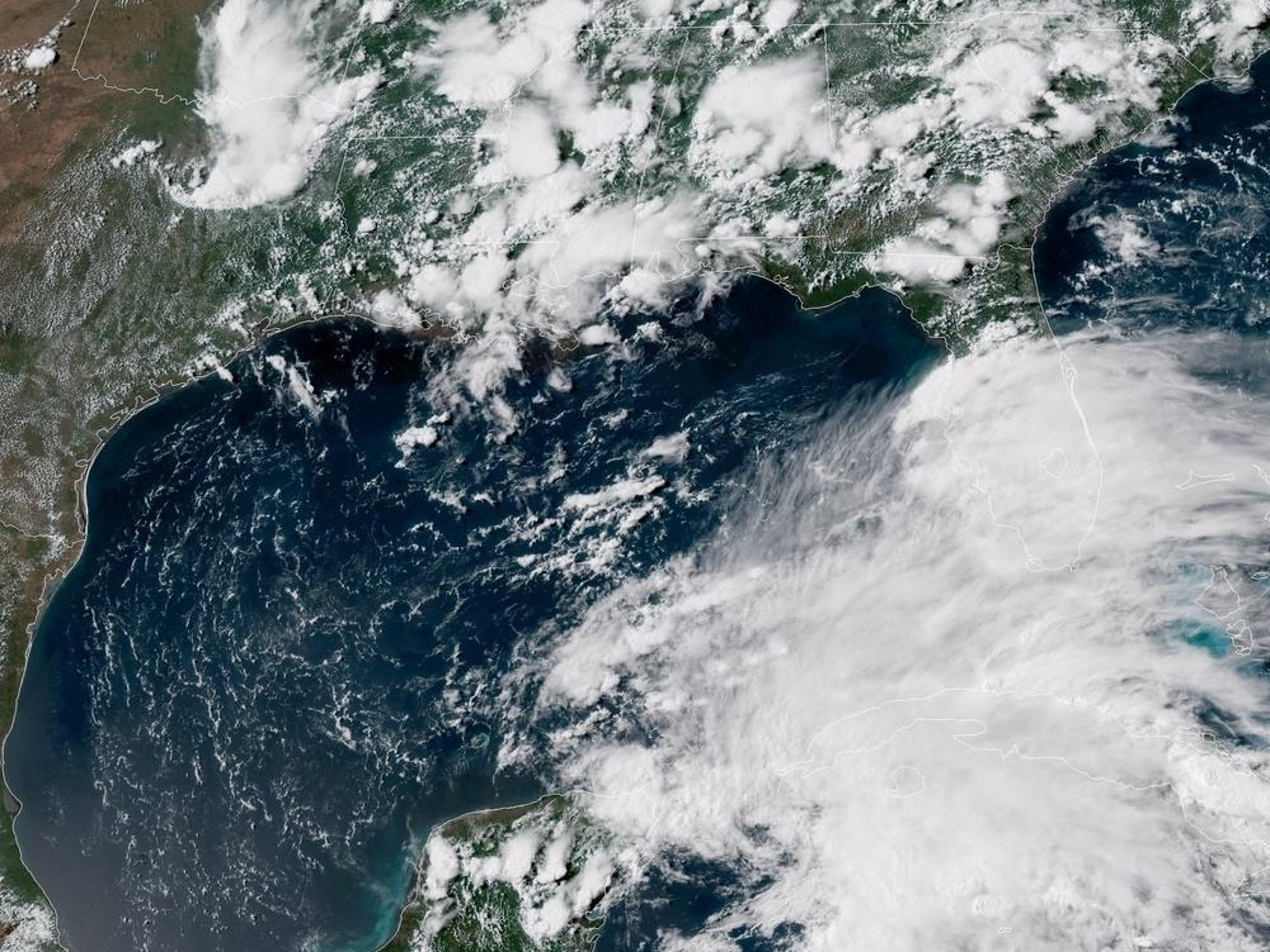 A satellite image of Subtropical Storm Alberto.