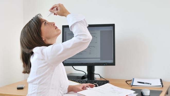 Dry eyes can be caused by many things, including staring at a computer screen for an extended period of time.