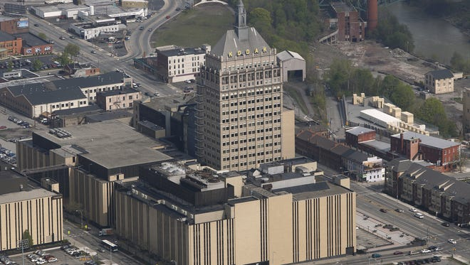 An aerial view of the Kodak building in Rochester.