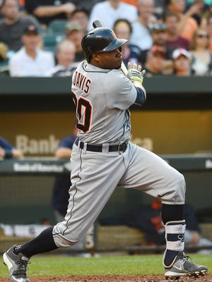 Tigers centerfielder Rajai Davis singles during the second inning of the Tigers' win Thursday in Baltimore.