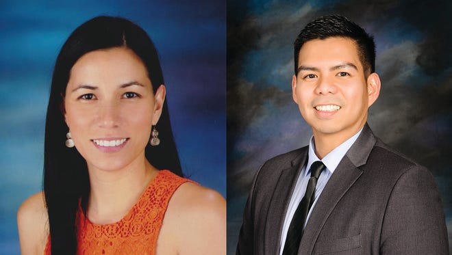 This combination of images shows Fina Leon Guerrero, teacher at M.U. Lujan Elementary School in Yona, left, and Richard Carlos Velasco, former teacher at F.B. Leon Guerrero Middle School in Yigo. Both teachers are among 213 educators this year that received the nation's highest honor in math and science — the Presidential Award for Excellence in Mathematics and Science Teaching.