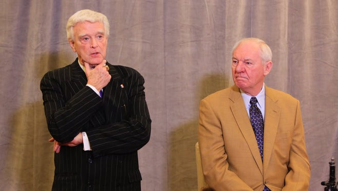 Attorney J. Bruce Miller, left, and Hall of Famer Dan Issel announce a new initiative to bring an NBA team to Louisville.