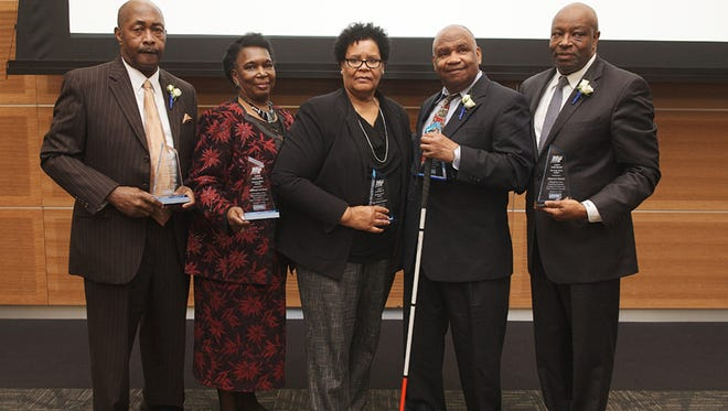 The unsung community heroes honored at MTSU's 2018 Unity Luncheon Feb. 15 are, from left to right, Anthony McAdoo, recognized for years of community service; Barbara Tuckson, recognized for her lifetime in service to education; Mary R. Patterson Watkins, recognized for her contributions to African-American arts; John Harris, recognized as an advocate for civility; and Raymond Bonner, recognized for his excellence in sports.