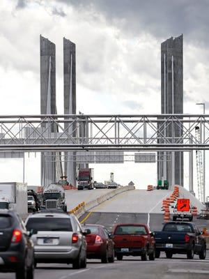 Southbound I-65 traffic will be rerouted to the new Lincoln Bridge, center, so that renovation work can begin on the Kennedy Bridge. Dec. 14, 2015.