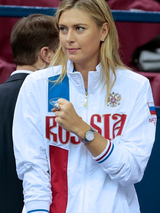 FILE - In this Saturday, Feb. 6, 2016, file photo, Russia's Maria Sharapova reacts during the Fed Cup tennis match between Russia and Netherlands in Moscow, Russia. The five-time major champion says she failed a doping test at the Australian Open in January for the little-known drug, which became a banned substance under the WADA code this year. The former world No. 1 took full responsibility for her mistake when she made the announcement at a news conference Monday, March 7, 2016, in Los Angeles. (AP Photo/Ivan Sekretarev, File)