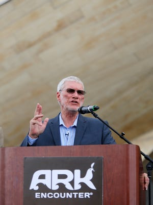 Ken Ham, founder of the the Ark encounter addresses the audience at the unveiling of the new park based on the biblical story of Noah's Ark. July 5, 2016.