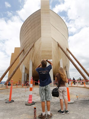 A man took a photo of the bow of the Ark Encounter, a replica of Noah's Ark, in Williamstown, Ky. July 5, 2016.