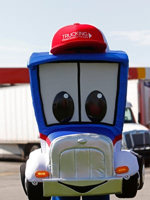The Trucking Moves America Forward mascot is seen after being introduced Thursday, May 18, 2017, in Knoxville, Tenn. (WADE PAYNE/SPECIAL TO THE NEWS SENTINEL)