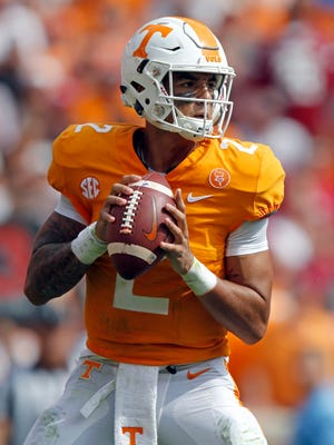 Tennessee quarterback Jarrett Guarantano (2) is seen in the first half of an NCAA college football game against South Carolina Saturday, Oct. 14, 2017, in Knoxville, Tenn.