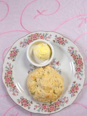The parmesean rosemary scone at the Sword and Scone Tea Parlor and Boutique. Nov. 16, 2017.