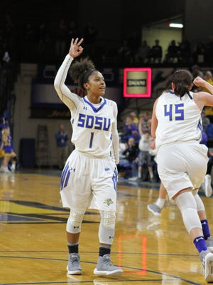 South Dakota State's Lexi Alexander (1) reacts to a made 3-pointer during the second quarter of the Jackrabbits' 68-64 loss to Louisville Sunday afternoon at Frost Arena in Brookings. Jason Salzman/For The Argus Leader