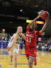 Louisville's Bionca Dunham (33) pulls down a rebound