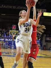 South Dakota State's Tagyn Larson (24) scores on a