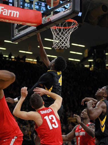 Iowa's Isaiah Moss takes a shot during the Hawkeyes'