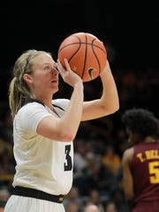 Iowa's Makenzie Meyer shoots a 3-pointer during the