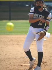 Abilene High pitcher Kaylen Washington throws a pitch during the Lady Eagles' 14-0 win over Weatherford on Tuesday at the AHS softball field.