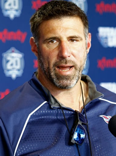 Titans head coach Mike Vrabel speaks to reporters after