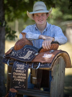 Mason Stuller, a junior-to-be at Elmira High School, won the bareback riding and all-around titles at National High School Rodeo Finals in July. Stuller started in rodeo at age 4 and has qualified for last three Junior National Finals Rodeos in Las Vegas. [Andy Nelson/The Register-Guard] - registerguard.com