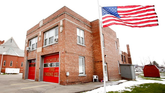 The Elmira Fire Department flies a flag at half-staff outside company No. 5 on Roe Avenue in memory of 41-year-old Jay Heverly, the Elmira firefighter who died Monday night from cancer.