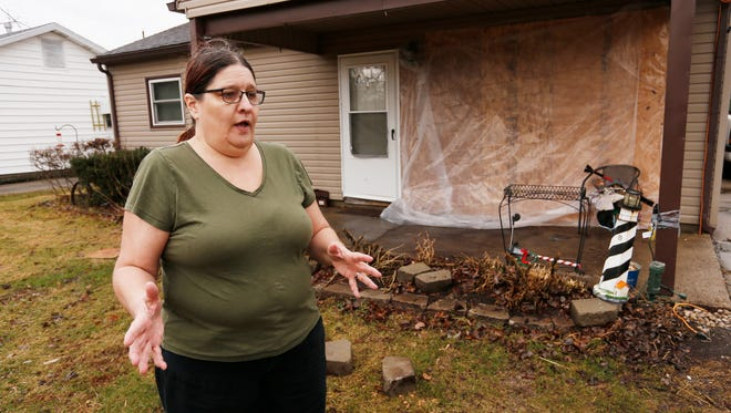 Kim Doherty talks Monday, February 19, 2018, about the car that crashed into her house at 1309 Audubon Road on Valentines Day. Doherty said her husband, Steven, was in the living room when a 16-year-old girl crashed her car into their house. Steven Doherty was unhurt, but the crash caused significant damage to the home.