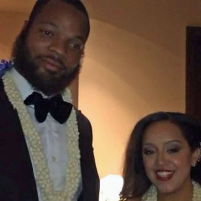 Seahawk Michael Bennett and his wife.