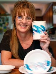 """Gina Ekiss designed the pattern known as """"Jazz"""" found on plates, cups, and a number of other disposable items."""
