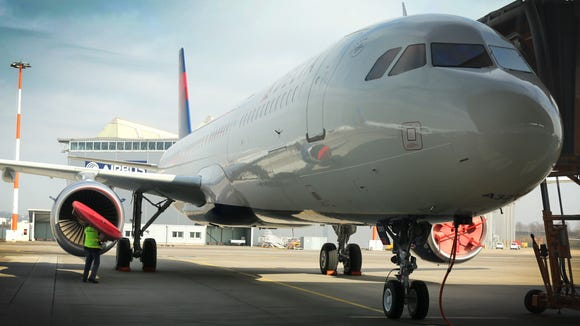 Delta Air Lines' first Airbus A321 is seen in this