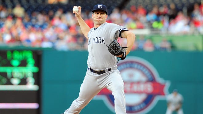 Yankees pitcher Adam Warren throws a pitch in the second inning of Wednesday's game against Washington at Nationals Park.