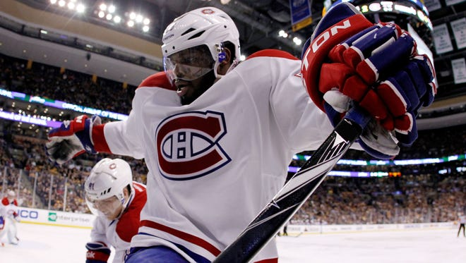 Montreal Canadiens defenseman P.K. Subban scored twice against the Boston Bruins on Thursday night in Game 1.