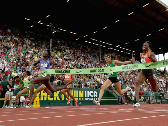 Tori Bowie runs to victory in the women's 100-meter during on June 26 in Eugene, Oregon. The Sandhill native will run in the World Championships next month in Beijing, China.