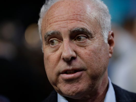 Philadelphia Eagles owner Jeffrey Lurie answers questions during NFL football Super Bowl 52 Opening Night Monday, Jan. 29, 2018, at the Xcel Center in St. Paul, Minn. (AP Photo/Eric Gay)
