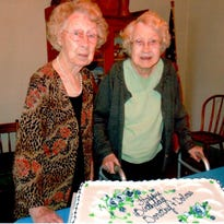 Identical twins Dolores Elstro and Dorothy Snodgrass were born Feb. 9, 1916.