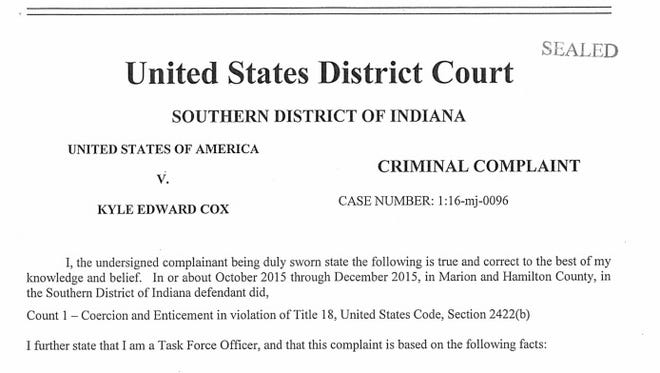 A screenshot of the criminal complaint against former Park Tudor basketball coach Kyle Cox, 31.