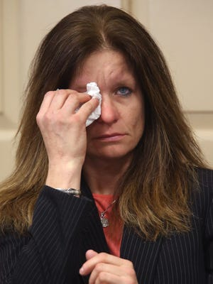 Colleen Roper, former girlfriend of victim Patrick Gilhuley, testifies in the Virginia Vertetis murder trial in Morris County Superior Court. Vertetis is accused of murdering her ex-boyfriend at her home in Mount Olive in March 2014. March 21, 2017, Morristown, NJ