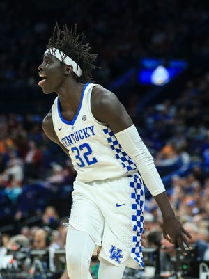 Kentucky's Wenyen Gabrial hit seven-for-seven 3-point shots against Alabama during Saturday's semifinal SEC Tournament game in St. Louis. He finished with career-high 23 points. March 10, 2018