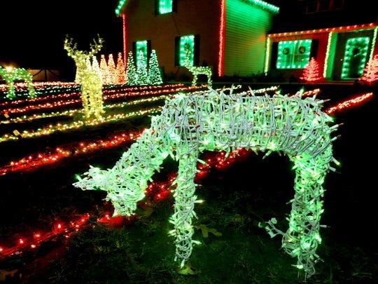 Each deer has 1,200 lights that change colors.