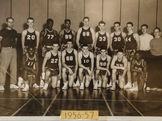 A  photo of Sexton's 1956-57 basketball team hangs