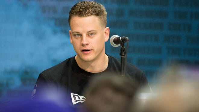 Feb 25, 2020; Indianapolis, Indiana, USA; Louisiana State quarterback Joe Burrow (QB02) speaks to the media during the 2020 NFL Combine in the Indianapolis Convention Center. Mandatory Credit: Trevor Ruszkowski-USA TODAY Sports
