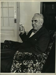 Theodore Dreiser, famous novelist and playwright, is seen in his suite at the Hotel Ansonia in New York on Nov. 12., 1931, after returning from Kentucky where he was making an inspection of the Kentucky mine districts.