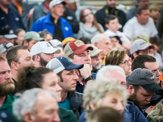 An audience listens to debate over the proposed Rhett Light swine CAFO at a Delaware County Commissioners meeting in this file photo.