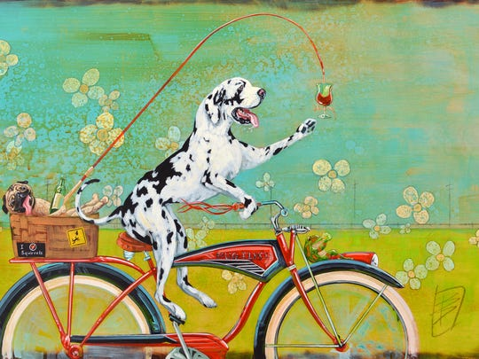 "Barton DeGraaf, an artist from Bend, was chosen as the 2018 Salem Art Fair and Festival Memorabilia Artist. His piece, ""Dog Days,"" was created to represent the art fair."