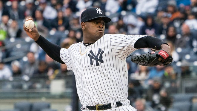 Yankees pitcher Luis Severino delivers a pitch against the Tampa Bay Rays during the first inning at Yankee Stadium.
