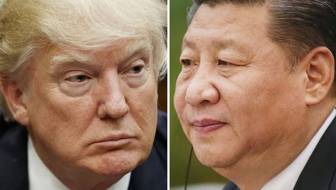 This combination of file photos shows U.S. President Donald Trump on March 28, 2017, in Washington, left, and Chinese President Xi Jinping on Feb. 22, 2017, in Beijing.