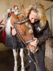 Marcus, more properly known as Paddyngton's Mark of Distinction, gives a nuzzle to Holly Armstrong of Meadow Reflections Farm in Cohoctah Township after Armstrong finishes putting a vintage parade bridle on the horse.